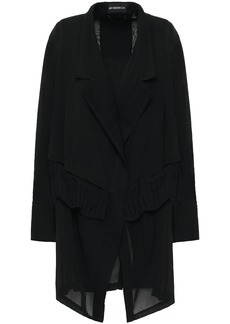 Ann Demeulemeester Woman Layered Pleated Wool-blend Crepe And Gauze Jacket Black