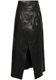 Ann Demeulemeester Woman Leather Midi Wrap Skirt Black