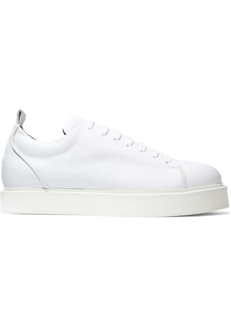Ann Demeulemeester Woman Leather Platform Sneakers White