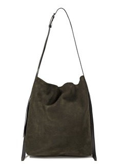 Ann Demeulemeester Woman Leather-trimmed Suede Shoulder Bag Army Green