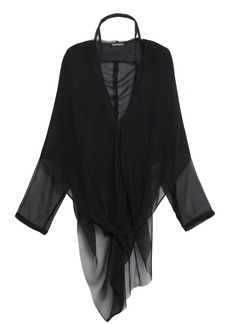Ann Demeulemeester Woman Leonora Silk-voile Hooded Blouse Black