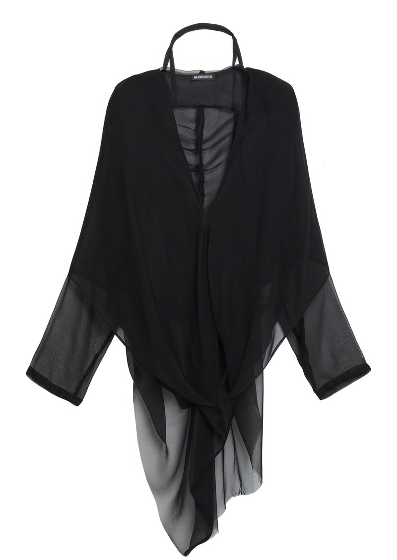 Ann Demeulemeester Woman Leonora Silk-voile Hooded Blouse Black