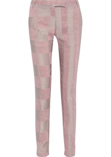 Ann Demeulemeester Woman Linen-blend Jacquard Slim-leg Pants Lilac