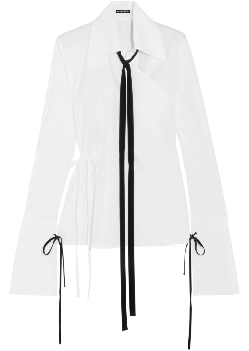 Ann Demeulemeester Woman Velvet-trimmed Cotton-poplin Wrap Shirt White