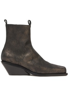 Ann Demeulemeester Woman Metallic Brushed-leather Wedge Ankle Boots Brass