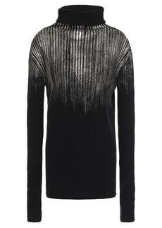 Ann Demeulemeester Woman Metallic Ribbed Wool Turtleneck Sweater Black