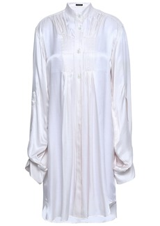 Ann Demeulemeester Woman Nanette Pintucked Satin Tunic Off-white