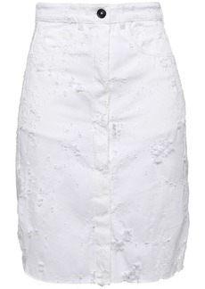 Ann Demeulemeester Woman Norwood Distressed Denim Skirt White