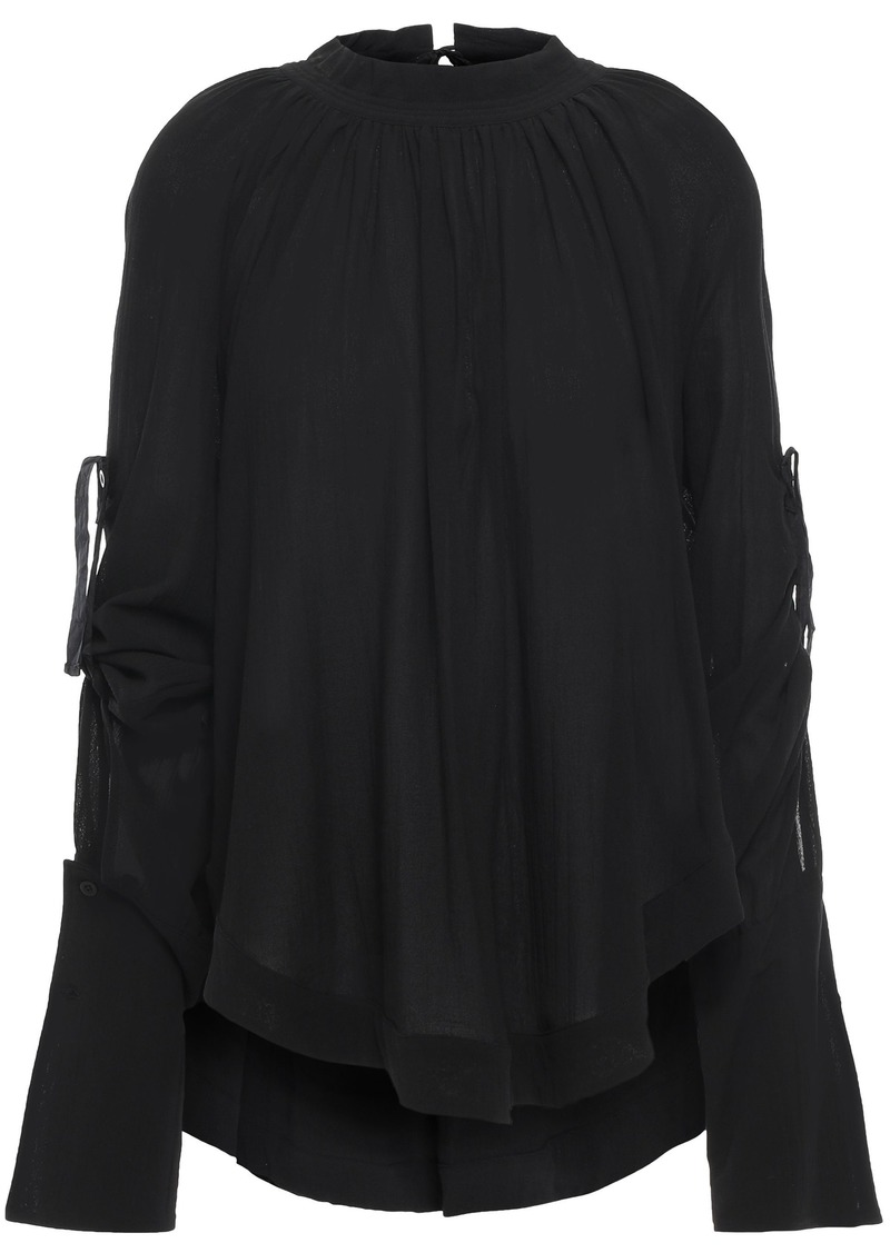 Ann Demeulemeester Woman Open-back Gathered Cotton-crepe Blouse Black