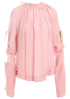 Ann Demeulemeester Woman Open-back Gathered Silk-georgette Blouse Baby Pink