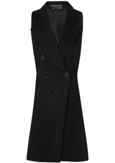 Ann Demeulemeester Woman Open-back Satin Twill-paneled Herringbone Wool-blend Vest Black