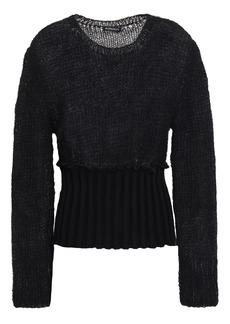 Ann Demeulemeester Woman Open-knit Mohair-blend And Ribbed-knit Sweater Black