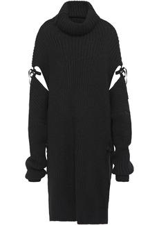 Ann Demeulemeester Woman Oversized Cutout Ribbed Alpaca-blend Turtleneck Sweater Black
