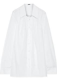 Ann Demeulemeester Woman Oversized Gathered Cotton-poplin Shirt White