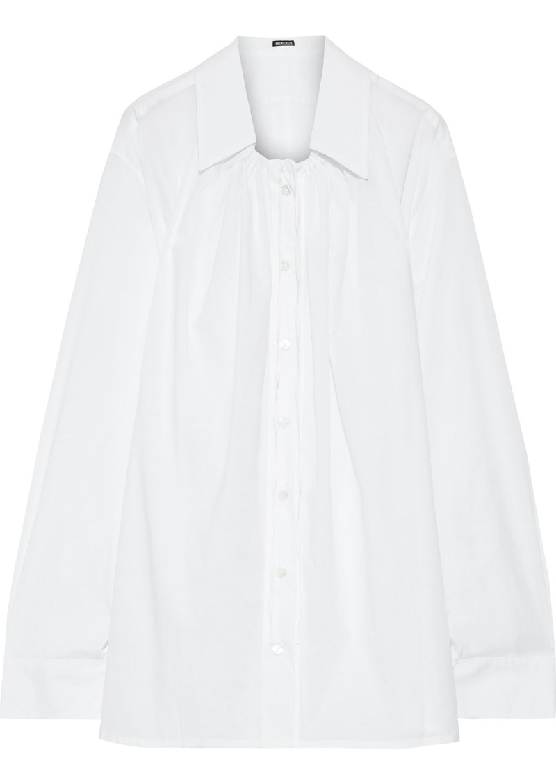 Ann Demeulemeester Woman Oversized Gathered Cotton-poplin Shirt White