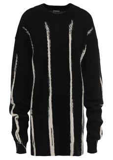 Ann Demeulemeester Woman Oversized Intarsia Alpaca Silk And Mohair-blend Sweater Black