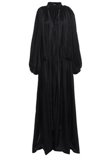 Ann Demeulemeester Woman Bow-detailed Gathered Satin-jersey Maxi Dress Black