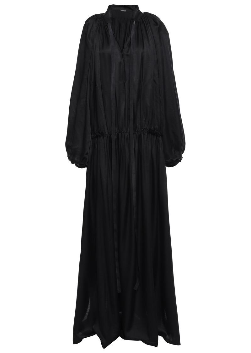 Ann Demeulemeester Woman Bow-detailed Gathered Satin-jersey Maxi Dress Black