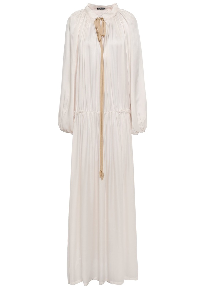 Ann Demeulemeester Woman Bow-detailed Gathered Satin-jersey Maxi Dress Off-white