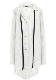 Ann Demeulemeester Woman Tie-neck Mélange Gauze Tunic Ivory