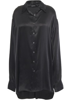 Ann Demeulemeester Woman Oversized Silk-satin Shirt Black