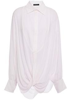 Ann Demeulemeester Woman Oversized Twisted Mousseline Shirt Ecru