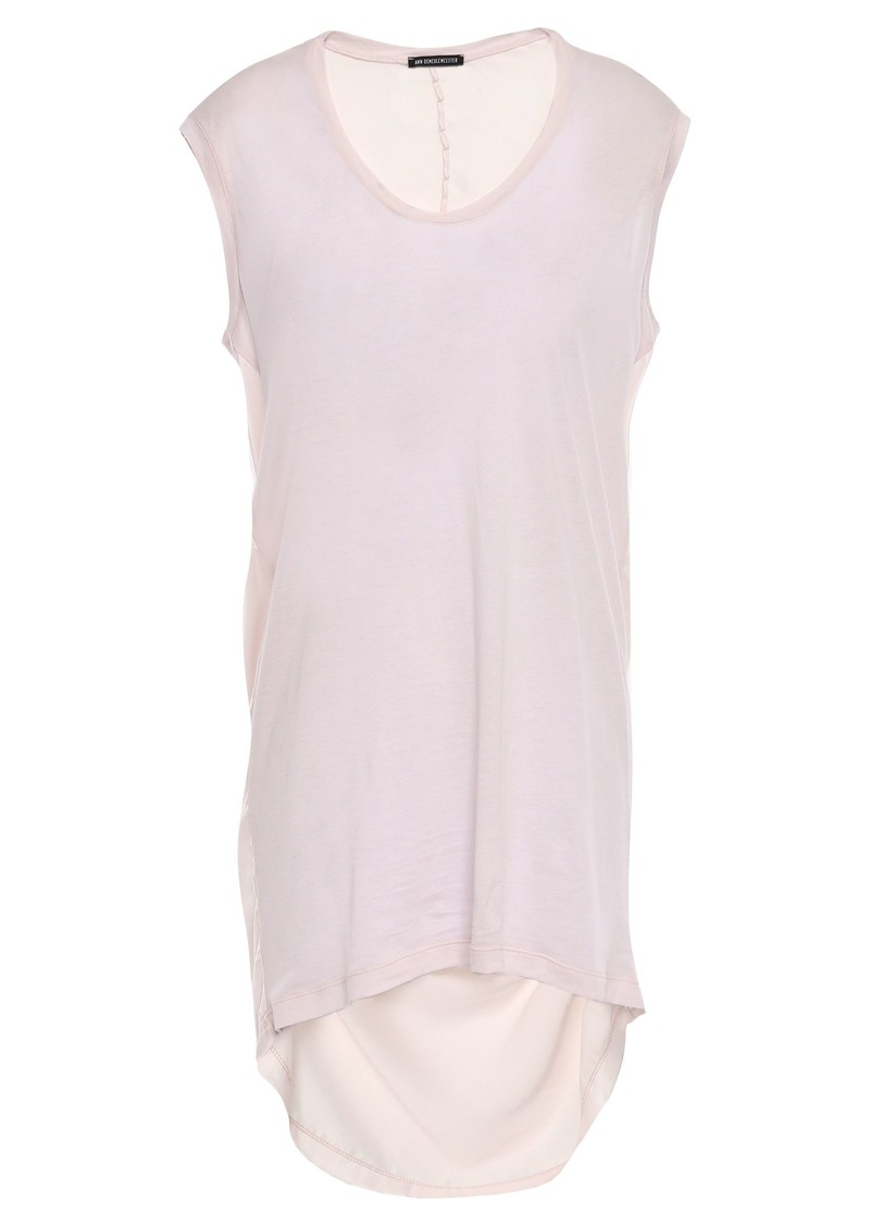 Ann Demeulemeester Woman Paneled Cotton-blend Jersey And Satin Top Pastel Pink
