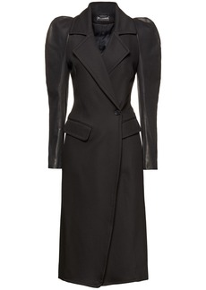 Ann Demeulemeester Woman Paneled Gathered Coated-twill Coat Black