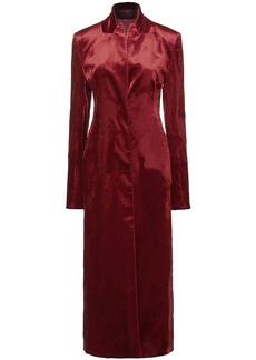 Ann Demeulemeester Woman Paneled Twill Velvet And Crinkled-satin Coat Claret