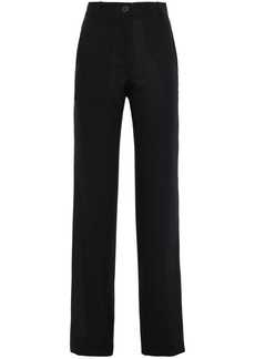 Ann Demeulemeester Woman Paneled Wool-jacquard And Twill Straight-leg Pants Black