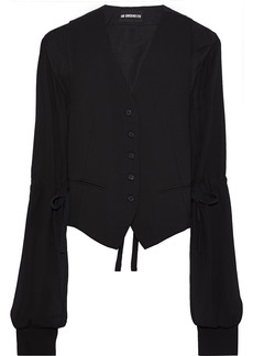 Ann Demeulemeester Woman Paneled Woven Twill And Georgette Jacket Black