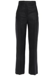 Ann Demeulemeester Woman Pinstriped Brushed Wool-blend Twill Straight-leg Pants Black
