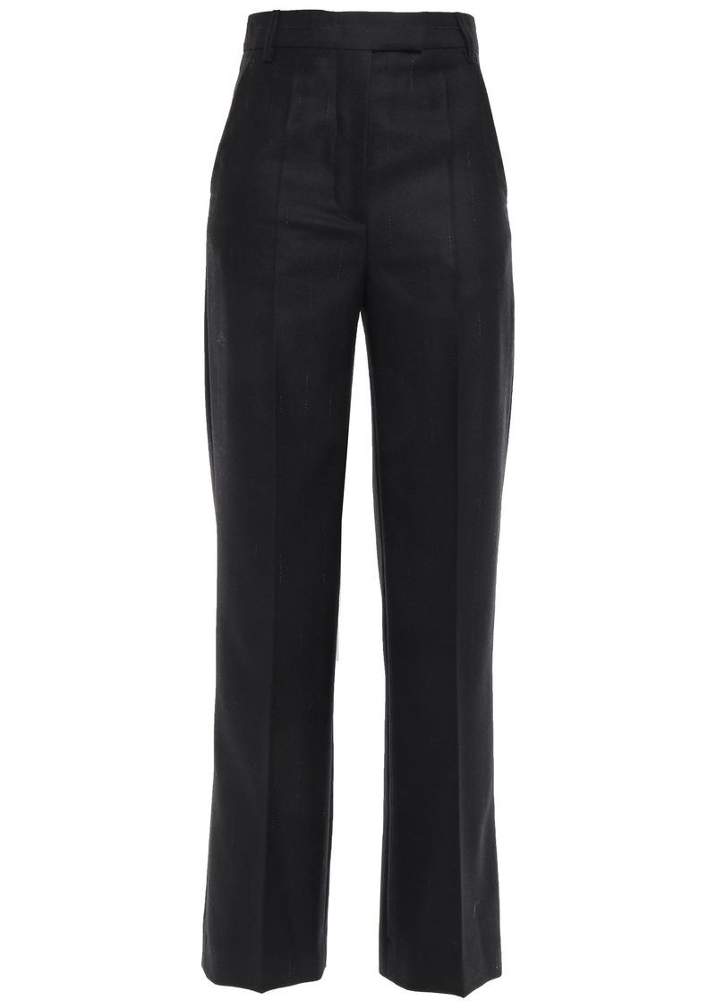 Ann Demeulemeester Woman Pinstriped Brushed Wool-blend Twill Straight-leg Pants Black