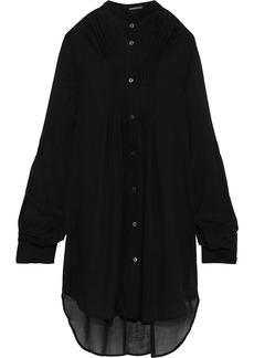 Ann Demeulemeester Woman Pintucked Cotton And Cashmere-blend Shirt Black
