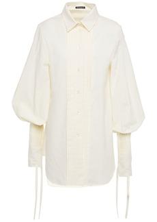 Ann Demeulemeester Woman Pintucked Cotton-jacquard Shirt Ecru