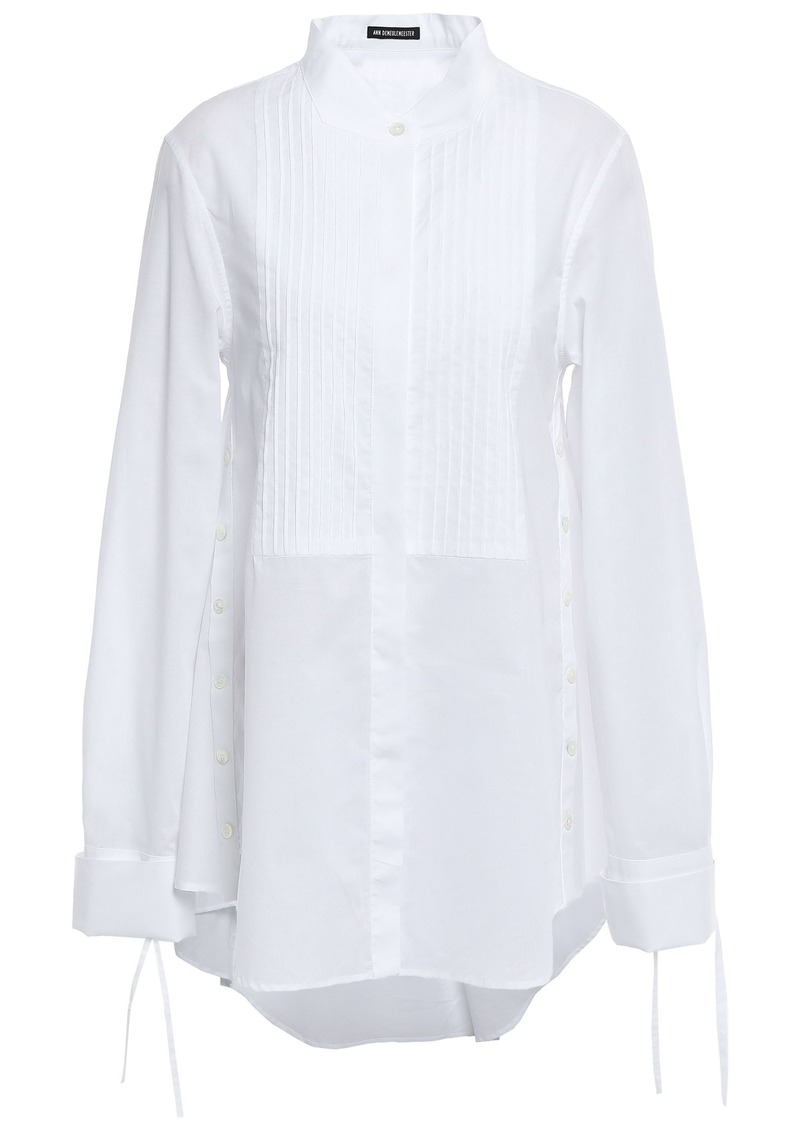 Ann Demeulemeester Woman Pintucked Cotton-poplin Shirt White