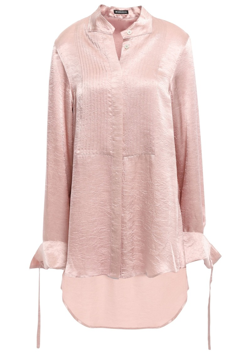 Ann Demeulemeester Woman Pintucked Crinkled-satin Shirt Antique Rose