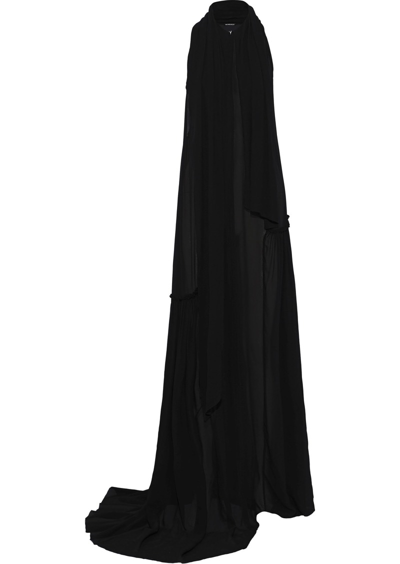 Ann Demeulemeester Woman Pleated Chiffon Gown Black