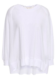 Ann Demeulemeester Woman Pleated Cotton-poplin And Jersey Top White