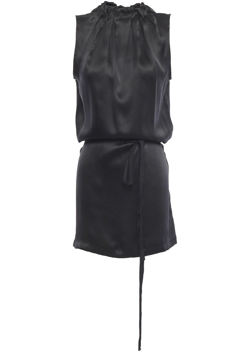 Ann Demeulemeester Woman Pleated Silk-satin Tunic Black