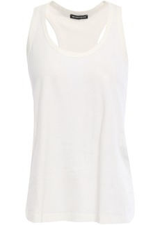 Ann Demeulemeester Woman Pleated Woven-trimmed Cotton-jersey Tank Off-white