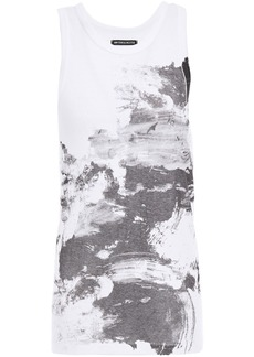 Ann Demeulemeester Woman Printed Cotton-jersey Tank White