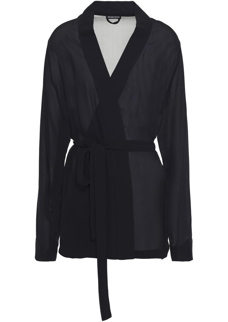 Ann Demeulemeester Woman Printed Silk-georgette Kimono Black