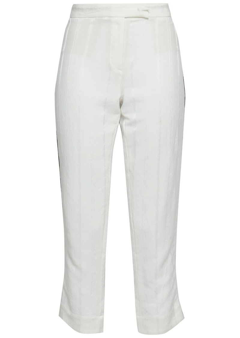 Ann Demeulemeester Woman Ramie-blend Jacquard Straight-leg Pants Off-white