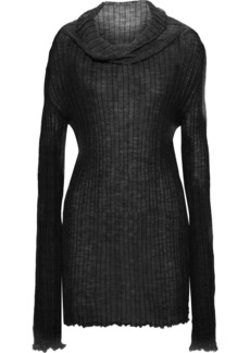 Ann Demeulemeester Woman Ribbed Mohair Alpaca And Silk-blend Top Charcoal