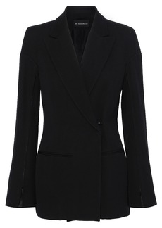 Ann Demeulemeester Woman Rosetti Double-breasted Wool And Cotton-blend Twill Blazer Black