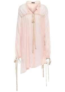 Ann Demeulemeester Woman Bow-detailed Cotton-gauze Shirt Pastel Pink