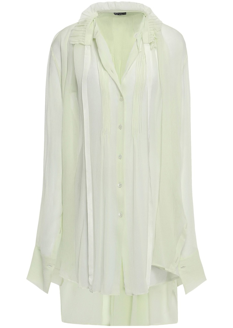 Ann Demeulemeester Woman Ruffle-trimmed Crinkled Silk-georgette Shirt Light Green
