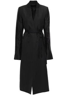 Ann Demeulemeester Woman Satin And Twill-paneled Linen-blend Coat Black