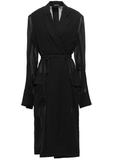 Ann Demeulemeester Woman Satin-paneled Wool-blend Jacket Black